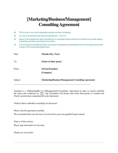 Marketing Business Management Consulting Agreement Educational Consultant Contract Template