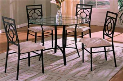 Glass Top Metal Base Modern Dining Table W Frosted Glass Clear Glass Top 5pc Modern Dining Table Set W Black Metal Base