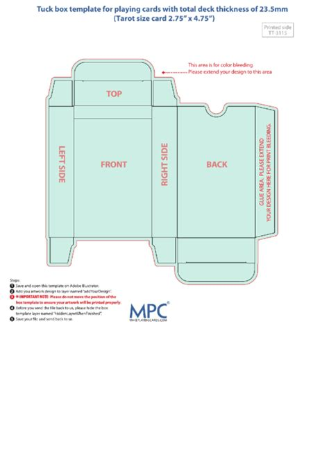 Cards Box Template Pdf by Card Box Template 23 5mm Thickness Printable Pdf