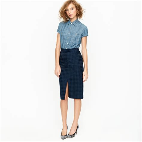 j crew jacquard dot pencil skirt in blue lyst