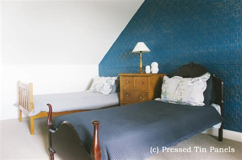 original bedroom original feature wall blue