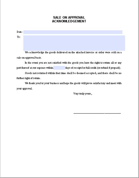 acknowledgement agreement template sale on approval acknowledgement letter free fillable