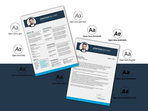 photoshop resume template matching cover letter