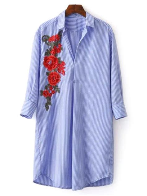 striped floral embroidered tunic shirt dress blue casual