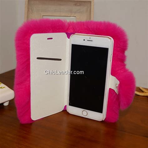 Flower Fur For Iphone 7 Plus Iphone 8 Plus fluffy rabbit fur flip leather cover for iphone