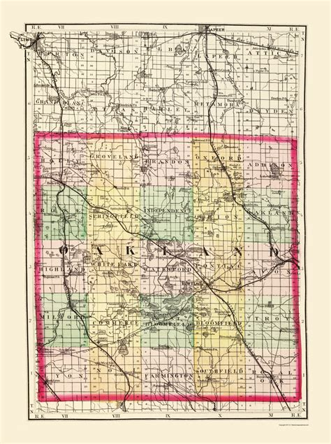 Oakland County Civil Search County Maps Oakland County Michigan Mi By Tackabury 1873