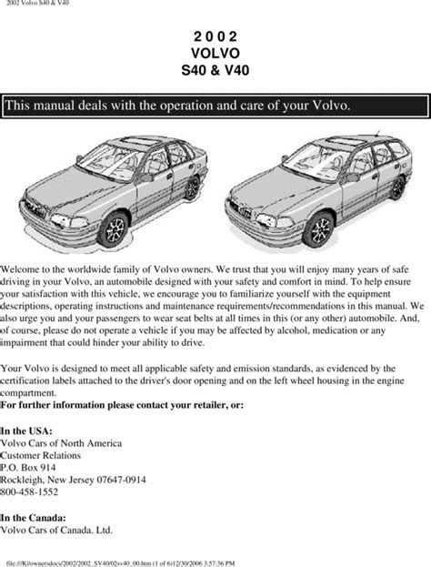 how to download repair manuals 2002 volvo v40 instrument cluster 02 volvo s40 2002 owners manual download manuals technical