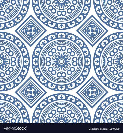 azulejo pattern azulejo seamless portuguese tile blue pattern vector image