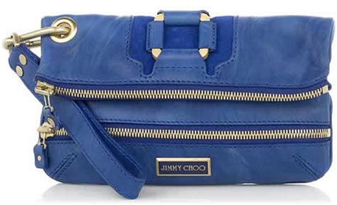 Jimmy Choos Popular Mave Foldover Clutch Bag In Electric Blue jimmy choo mave foldover clutch purseblog