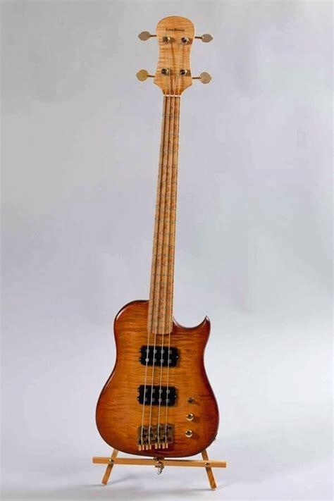 Handmade Bass Guitars - made tiger maple lincsonic electric bass guitar by