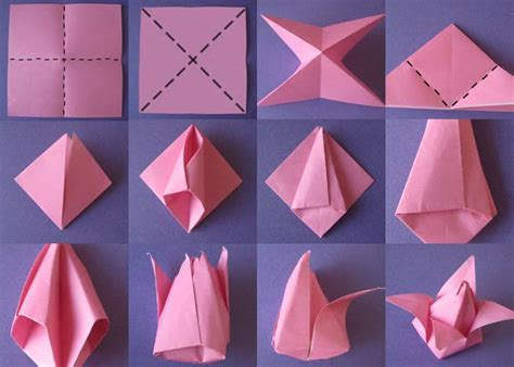 How To Make A Paper Tulip Step By Step - 40 origami flowers you can do