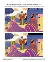 paul   friends taught  jesus spot  differences activity