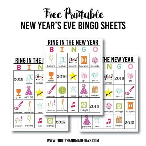 new year free printable cards updated printable new year s bingo thirty handmade days