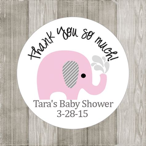 Girlset Pink Elephant pink elephant stickers for baby shower or birthday