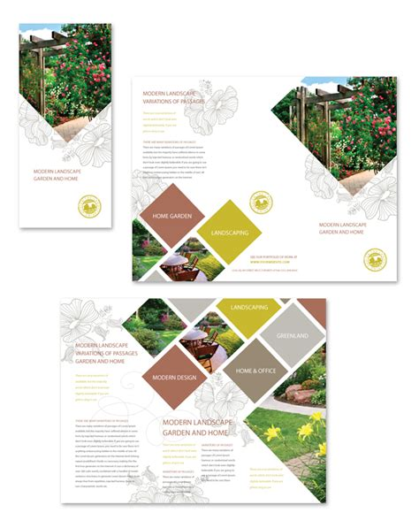 modern landscaping tri fold brochure template