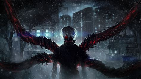 wallpaper engine url wallpaper tokyo ghoul ken kaneki snow artwork 4k 8k