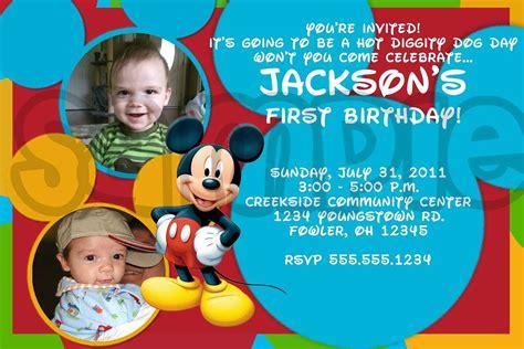 mickey mouse 1st birthday printable invitations mickey mouse photo birthday invitations drevio invitations design