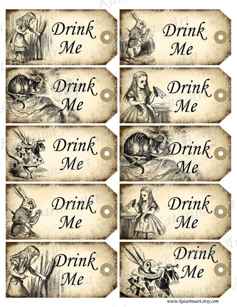 printable pictures alice in wonderland drink me tags alice in wonderland printable gift by