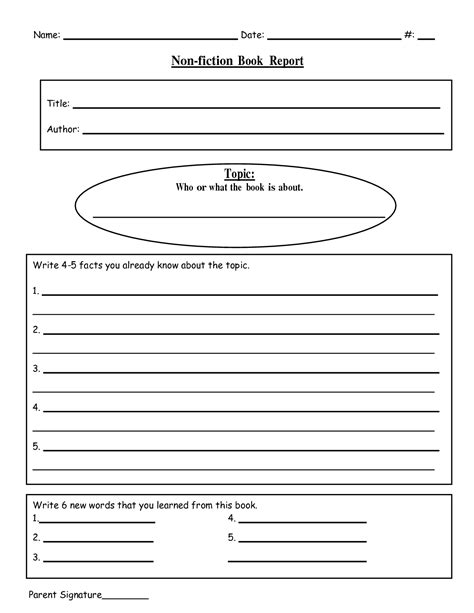 fiction book template 8 best images of printable book report outline 5th grade
