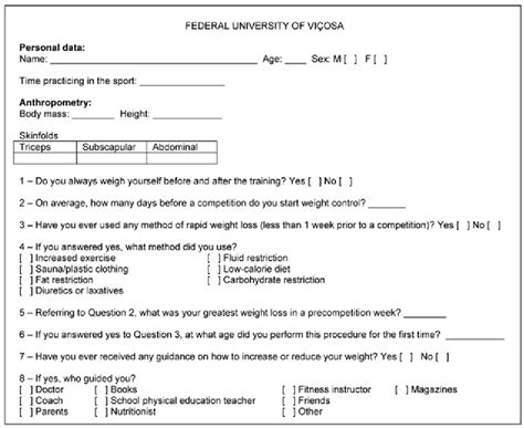 weight loss questionnaire template questionnaire to quantify the practice of rapid weight