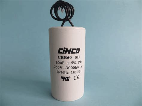 cbb60 capacitor 250v 60uf 60mf 250v 300v cbb60b wire ac motor run capacitors cinco capacitor china ac capacitors factory