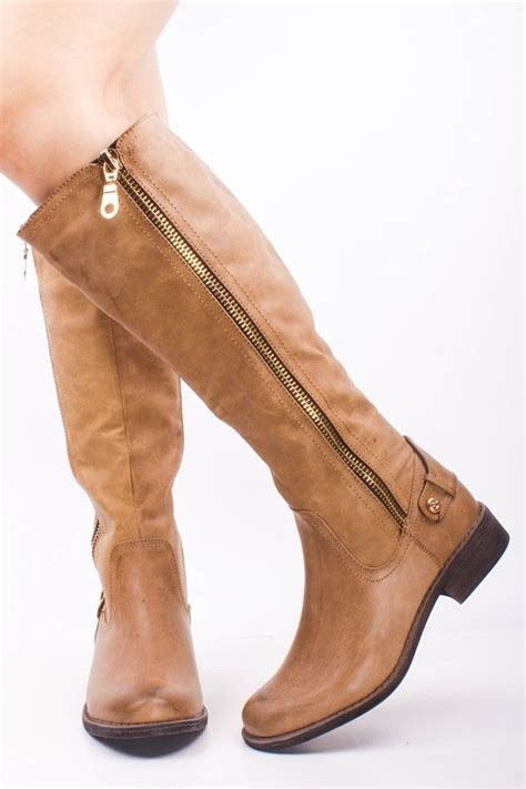 womens motorcycle riding boots on sale taupe faux leather round toe gold accent low heel riding