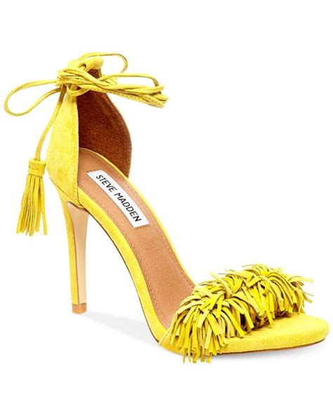 steve madden sassey two fringe sandals in yellow yellow suede lyst