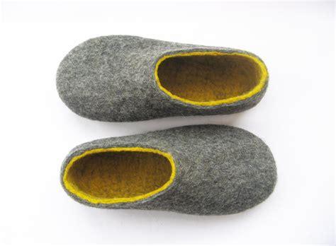washing slippers rubber soles womens felt slippers grey yellow contrast sole wool walker