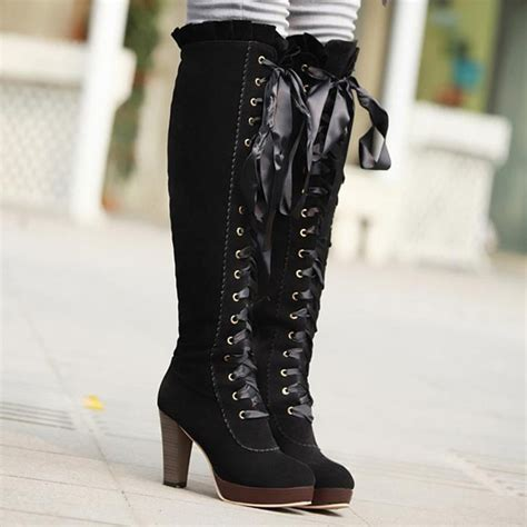 fashion bow knee high heeled boots for fall winter