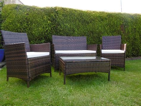 rattan garden furniture set chairs sofa table outdoor