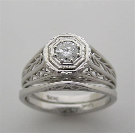 antique style engagement and wedding ring set