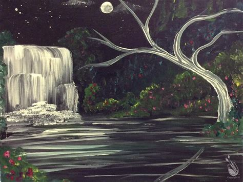 paint with a twist greece ny waterfall by the moon friday november 4 2016