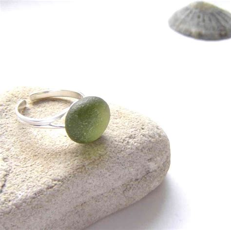 glass with olive olive green adjustable sea glass ring northumbria gems