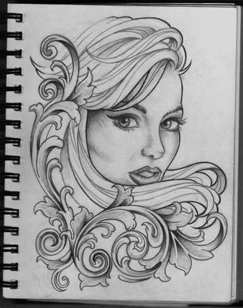 tattoo girl drawing woman and filigree tattoo design by frosttattoo on