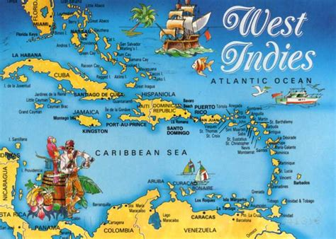 world map with country name west indies postcards around the world map card of the west indies
