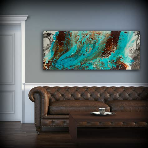 aqua print blue and brown wall decor colourful
