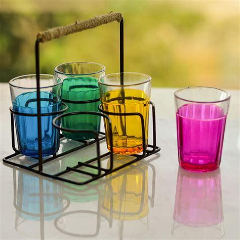 cutting chai glass  stand multicolor glasses