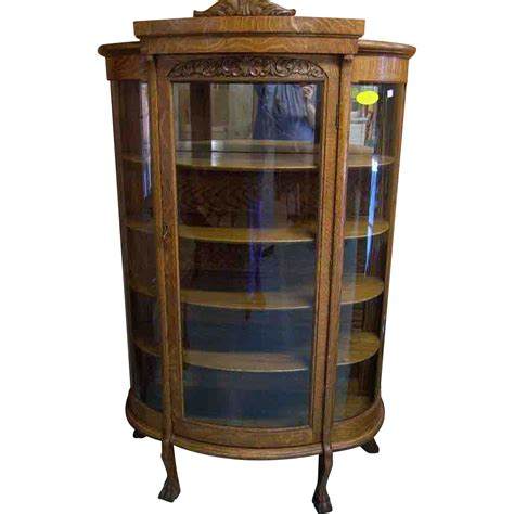 Oak Curved Glass China Cabinet, Paw Feet from robertsantiques on Ruby Lane