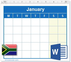 calendar  south africa holidays ms word