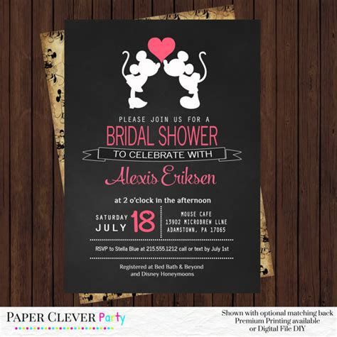 Disney Bridal Shower Invitations by Retro Bridal Shower Invitations Minnie And By Papercleverparty