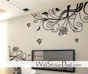 lovely flower with butterfly wall stickers home decorating music sticker decal arts paper