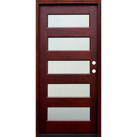 Wooden Exterior Doors With Glass Pacific Entries 36 In X 80 In Contemporary 5 Lite Mist Lite Stained Mahogany Wood Prehung