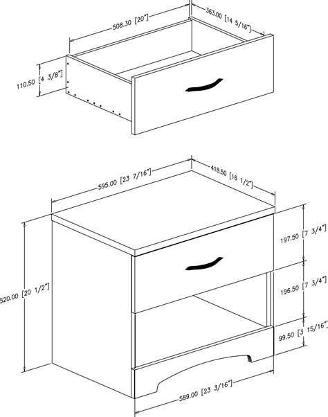 dimension table de nuit table de nuit dimension design en image