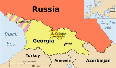 map of south russia south ossetia physical map