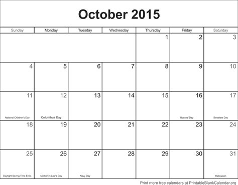 october calendar template october 2015 printable calendar template printable blank