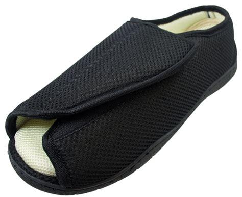 mens open toe slippers mens open toe wide e 5e opens out flat memory