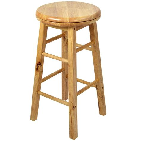 Wooden Breakfast Bar Stool Wooden Revolving Stool Light Brown Swivel Bar Pub Chair Kitchen Breakfast Seat Ebay