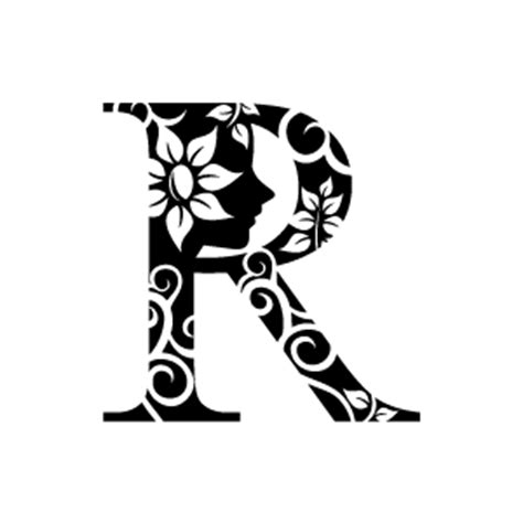 black and white pattern letter flower clipart black alphabet r with white background