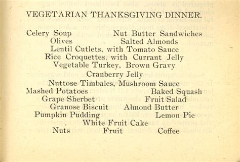 vegetarian menu ideas for dinner a 1904 vegetarian thanksgiving dinner inside