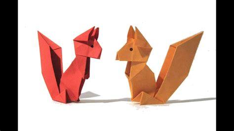 origami squirrel easy origami tutorial  version     origami squirrel youtube